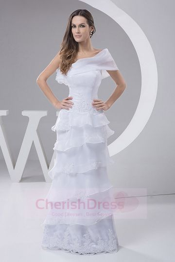 Graceful One Shouder Floor-length A-line Dress with Cascading Ruffles