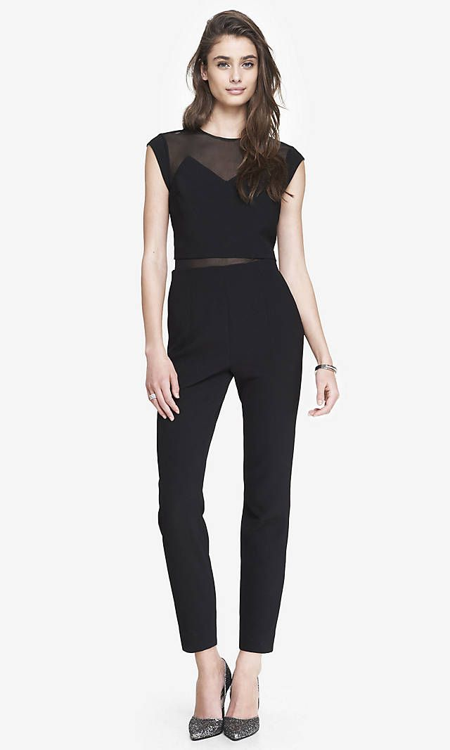 LAYERED MESH TOP JUMPSUIT | Express