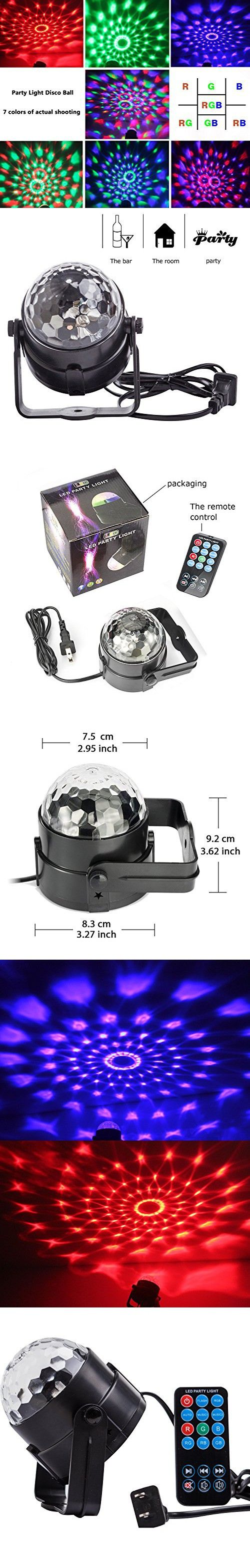 Spriak Party Lights Disco Ball 3w Led Strobe Stage Halloween Christmas Rgb Led Par Light Lighting with Remote Control for DJ Bar Karaoke Xmas Wedding Show Club Pub