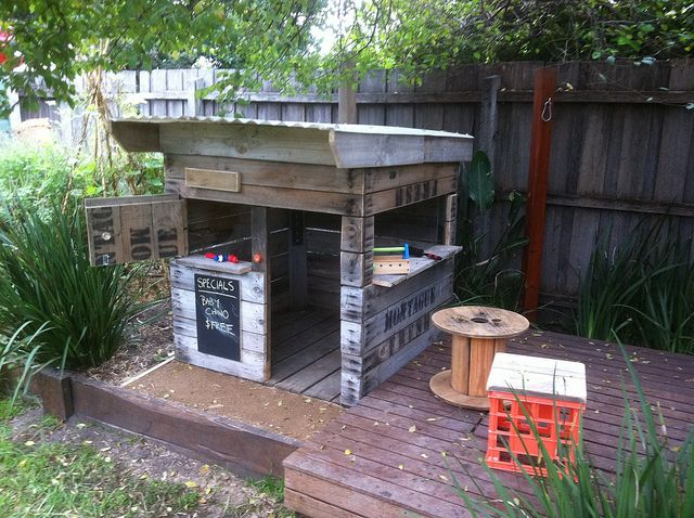 Love this little cubby house made from recycled crates By the Little Veggie Patch Co.
