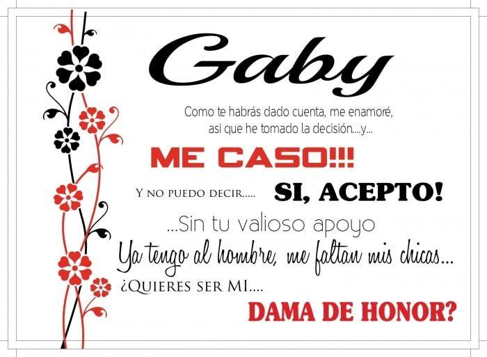 Quieres ser mi dama de honor? Fuente: Bodas.com.mx