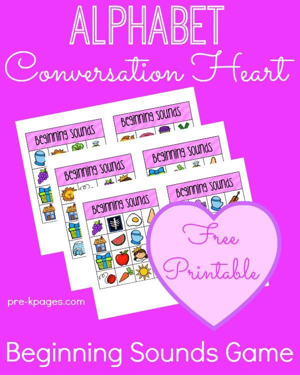 Valentine Alphabet Conversation Heart Beginning Letter Sounds Printable Game #ece #prek #ValentinesDay #freebies #printables