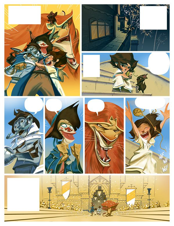 "Pages from the comic book ""Le Magicien d´Oz"", a french adaptation (three books) from David Chauvel at the script, Delcourt Editions."