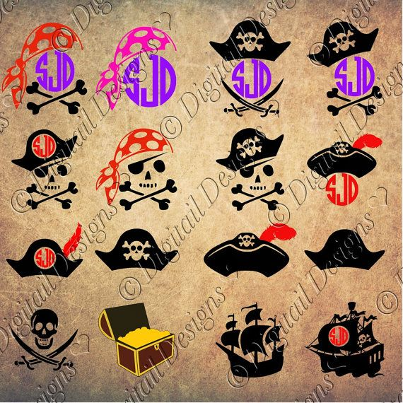 Set of Pirate Images Clipart Monogram Frames by DigitailDesigns