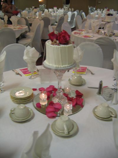 Cake Centerpiece - saves money on decorations, and people can eat it :-)