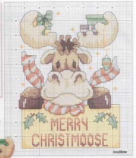 Cross-stitch Merry ChristMoose.. no color chart, just use pattern chart colors as your guide.. or choose your own colors. Ponto cruz: Tema Natalino: