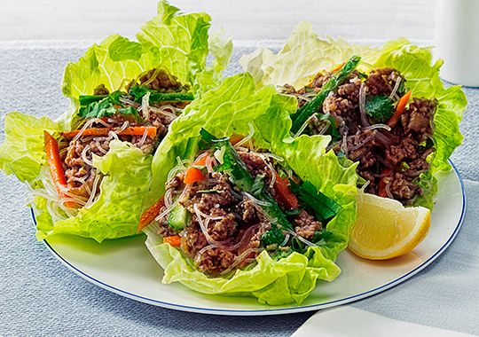 Hoisin and Plum Pork Mince in Lettuce Cups