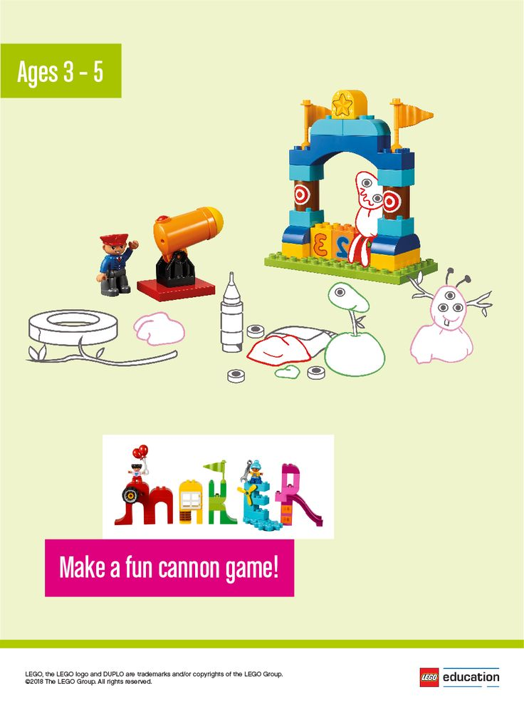Have your children create a fun cannon game for Mr. Parker's booth. How can they make it safe for the guests? Will some targets be easy and some more difficult to hit? The children can use LEGO® DUPLO® bricks or other materials from your classroom. Encourage the children to work in small groups and tinker with the elements to spark the creativity. Ask the children to take turns telling about the models they have made.