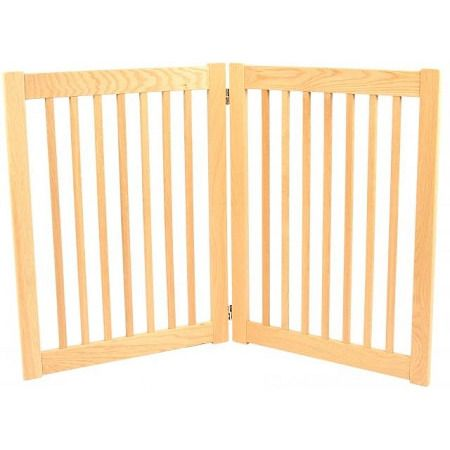 """Legacy 2 Panel Outdoor Pet Gate. Features:   32"""" Tall   1 3/4"""" spacing between spindles   2-panel design perfect for doorways up to 36""""    Solid White Oak hardwood construction   Stainless steel double action hinges   Handcrafted in the U.S.A.   The Legacy Collection Freestanding Outdoor Pet Gates bring all new functionality to pet gates. These 2 panel outdoor pet gates are constructed of White Oak hardwood, tough wood ideal for outdoor use that won't easily scratch or dent...."""