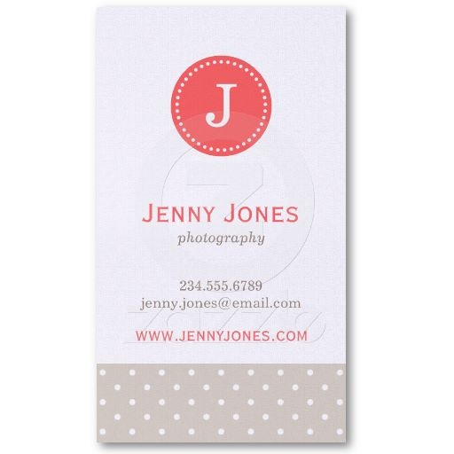Linen Beige & Coral Cute Polka Dots Monogram Business Card Template