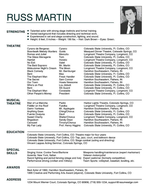 27 best Headshots images on Pinterest Acting resume template - actors resume samples