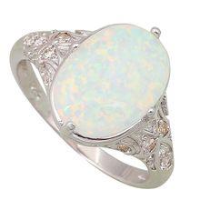 Moda Jóias de Opala anéis Fina das Mulheres anéis de Opala de Fogo Branco 925 Sobreposição De Prata tamanho 5 6 7 8 9 10 R106(China (Mainland))