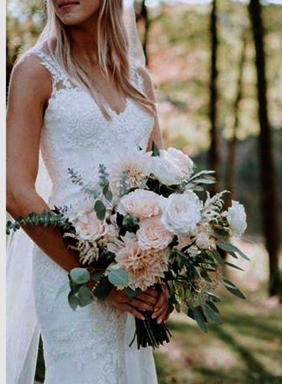 Mygift Satin Bride Holding Bouquet Roses Rhinestones Wedding Flowers Ivory Summer Wedding Bouquets Blush Bridal Bouquet Wedding Flowers Summer