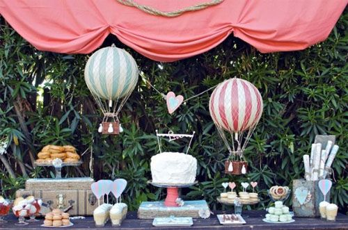Up, Up and Away Hot Air Balloon Baby Shower IdeasHotair, Balloons Parties, Desserts Bar, Parties Ideas, Theme Wedding, Hot Air Balloons, Cake Tables, Desserts Tables, Desserts Buffets
