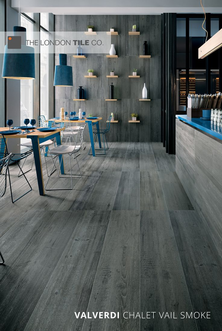 Valverdi Chalet Vail Smoke grey wood effect tiles add a modern but natural look to indoor and outdoor spaces