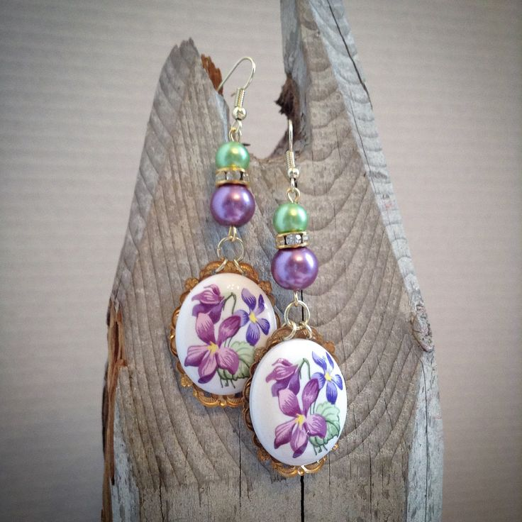 Lovely violet cabachon earrings by Catherine Otto
