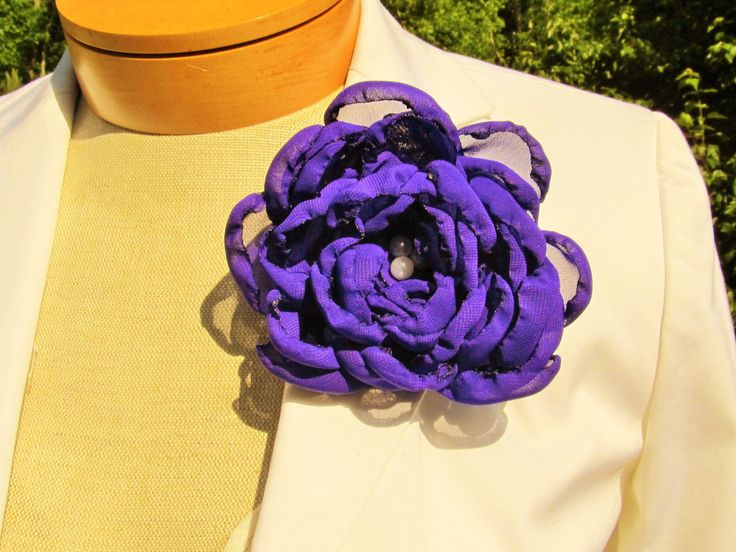 Purple Chiffon Flower Pin with White Beaded Pearl Center by BROWNIESBOWTIQUE on Etsy