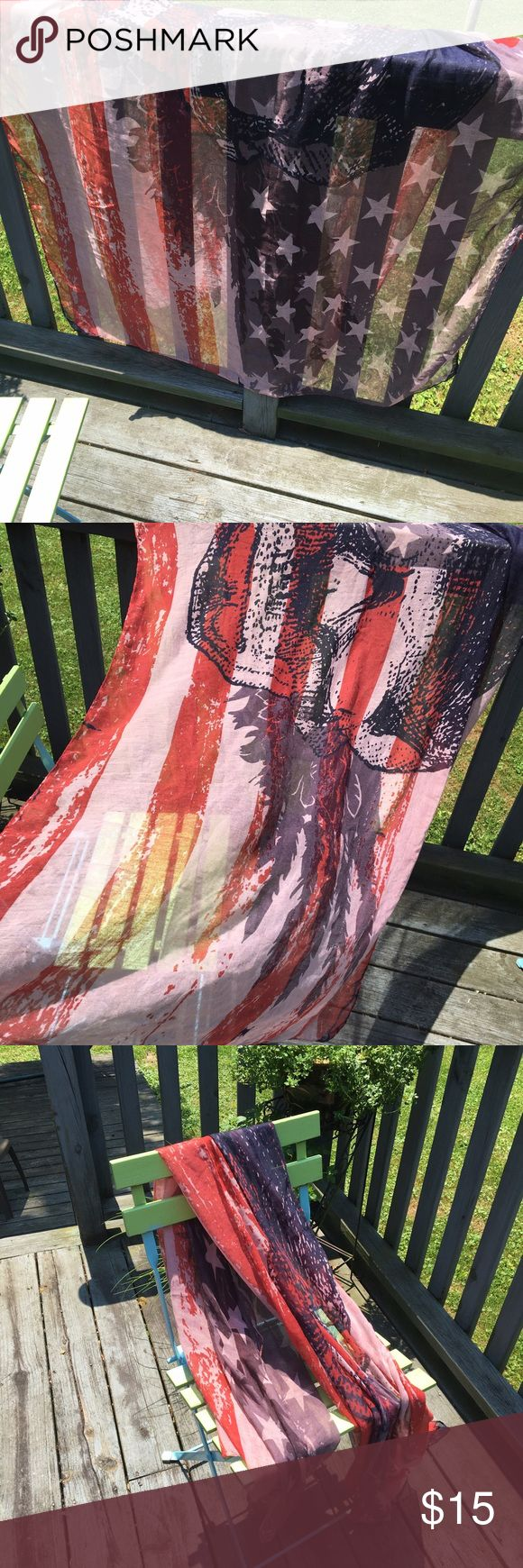 Americana scarf/wrap I've worn as a scarf and a wrap. Colors resemble a weathered red, white, and blue flag background making it seem rust red, beige, and dark blue. Make an offer! 30% off bundles of two or more! Accessories Scarves & Wraps