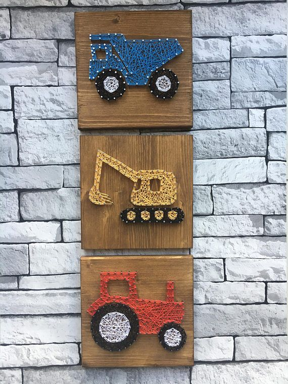 Digger tractor lorry wooden string art picture