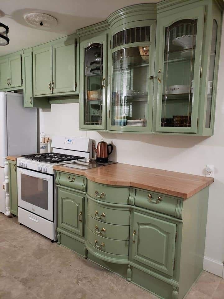 A China Cabinet Repurposed As Upper And Lower Kitchen Cabinets Upper Kitchen Cabinets Repurposed Kitchen Repurposed China Cabinet