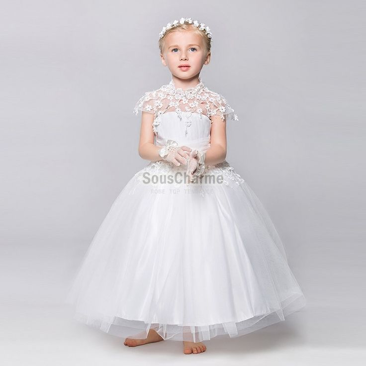 robe fille cort ge enfant pour mariage en tulle blanche jupe ample vaporeuse col montant en. Black Bedroom Furniture Sets. Home Design Ideas