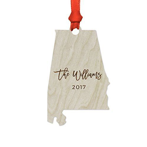 Andaz Press Personalized Laser Engraved Wood US State Christmas Ornament, Custom Names, Alabama, 1-Pack, Includes Ribbon and Gift Bag