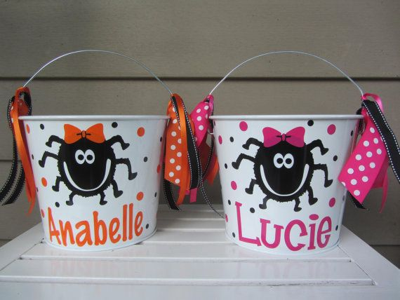 This listing is for one personalized 5 quart Halloween bucket.  ***Instructions for ordering***  Select the color of bucket you would like in the pull down menu. If you want the bucket exactly like the photo with just a name change, just give me the name for personalization in the notes section when checking out.  For other changes, please give me the following information in the notes section when checking out-  design- name- font- accent colors (name, dots, ribbons)- dots- yes or no…