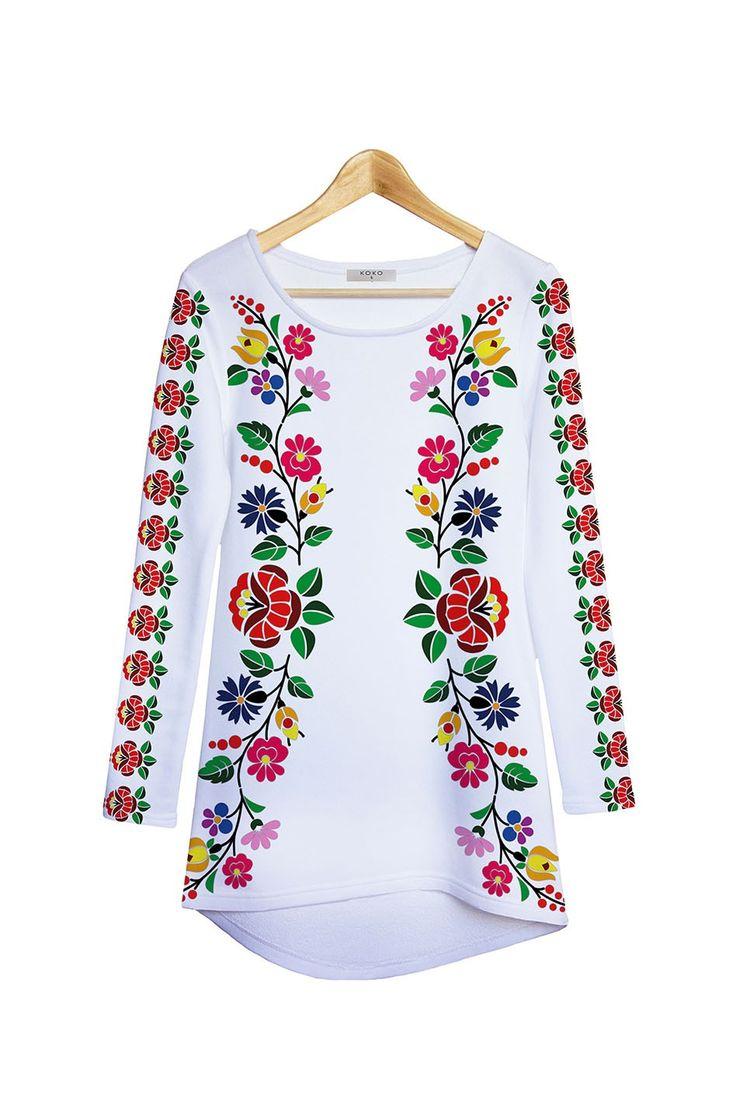 Biela kvetovaná tunika Rose