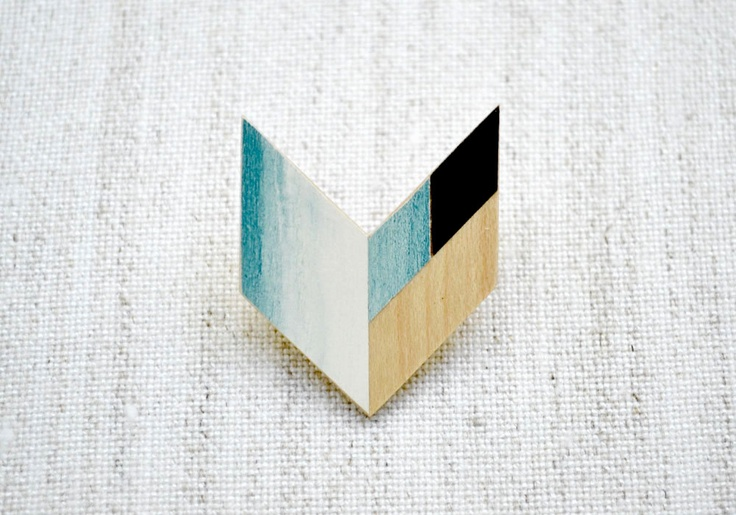 Wooden Geometric Chevron Brooch /// colors and composition
