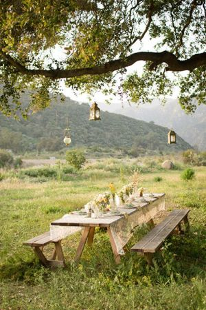 Outdoor Picnic Table Reception...I love the suggestion of passing out picnic blankets