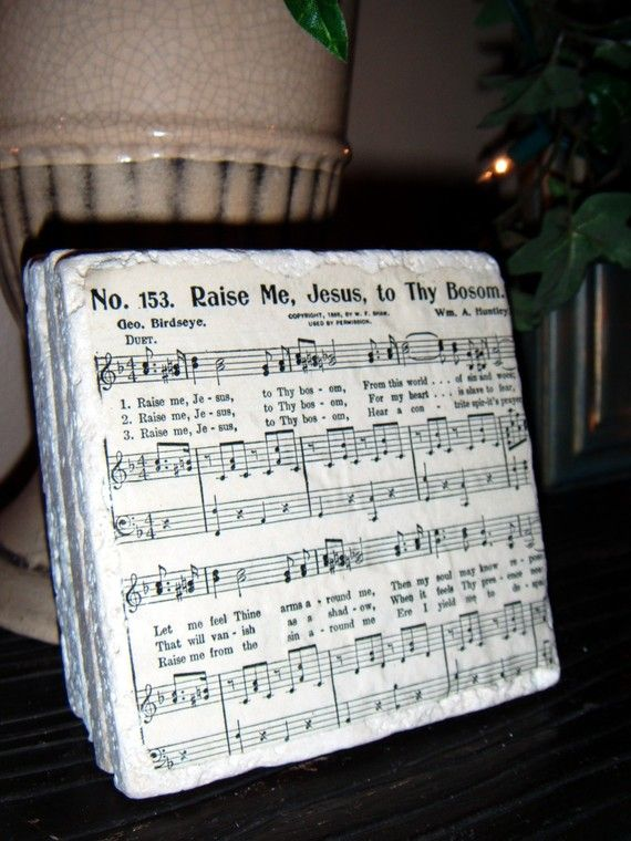 Coasters, Vintage Sheet Music Coaster Set, Church Hymnal Sheet Music - Tumbled travertine stone - Unique set made from actual sheet music