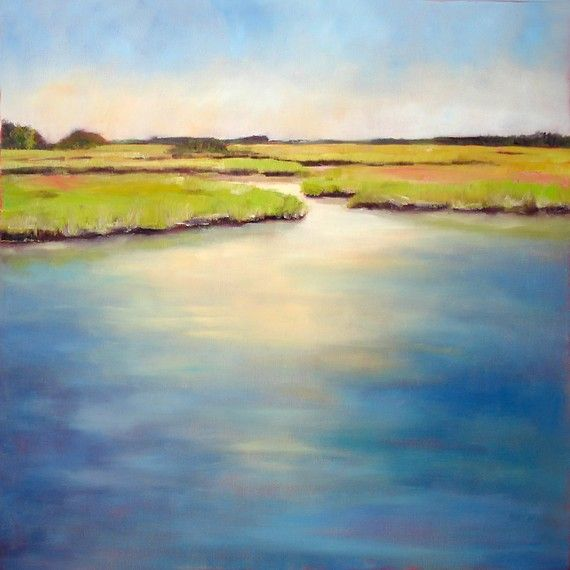 Coastal salt marsh painting teal creamy by NancyHughesMiller