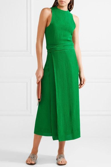 Bright-green plissé-crepe Concealed hook and zip fastening at back 100% viscose; lining: 100% silk Designer color: Kelly Green Dry clean