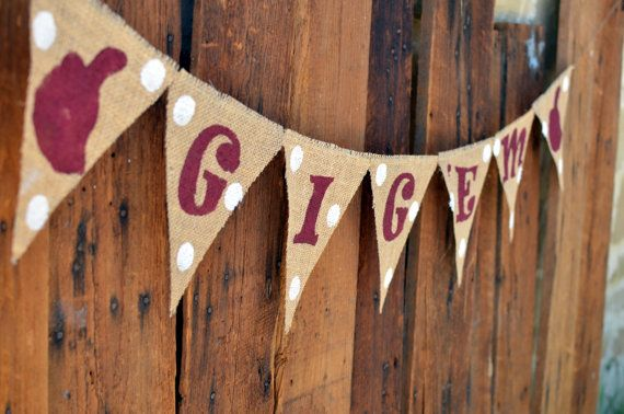 Gig 'Em Burlap Banner for Texas A&M University by LylaDee on Etsy, $16.00