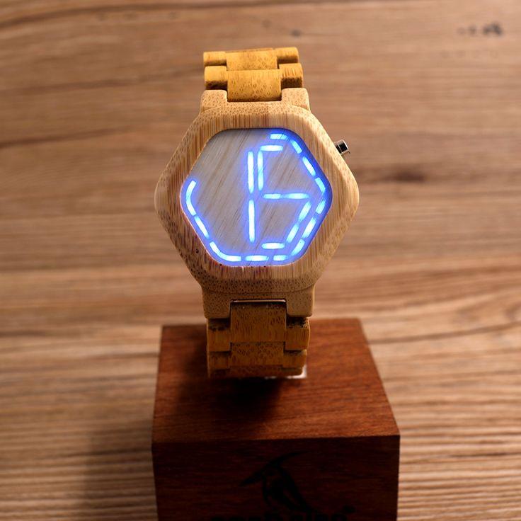 BOBO BIRD E03 LED hombres del reloj del caso de madera Noche de reloj digital LED Vision fresco de visualización del reloj LED con LED único día de la fecha en los relojes de cuarzo de los relojes en Aliexpress.com | Grupo Alibaba