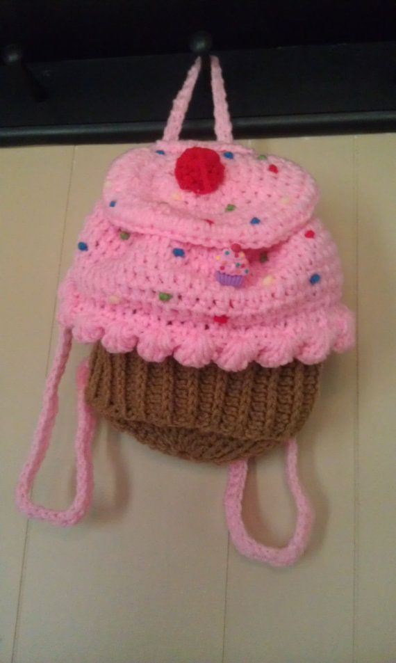 Strawberry Crochet Cupcake backpack/diaperbag by Cupcakesforbecca, $25.00