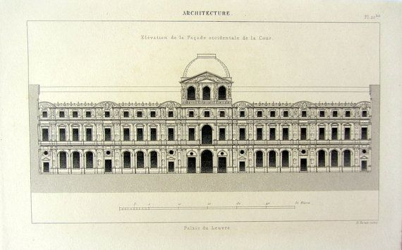 Architecture Royal Palace 1852 antique print by LyraNebulaPrints