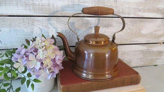 Tetera de cobre Vintage olla olla de cobre con mango de