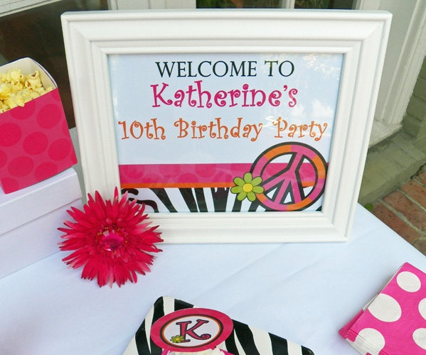 Hot Pink Polka Zebra Peace Sign Birthday Printable Door Sign, Yard Sign - Chic Peace Party Collection. $8.00, via Etsy.