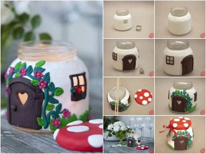 How to make mushroom house candle jar step by step DIY tutorial instructions, How to, how to do, diy instructions, crafts, do it yourself, diy website, art project ideas