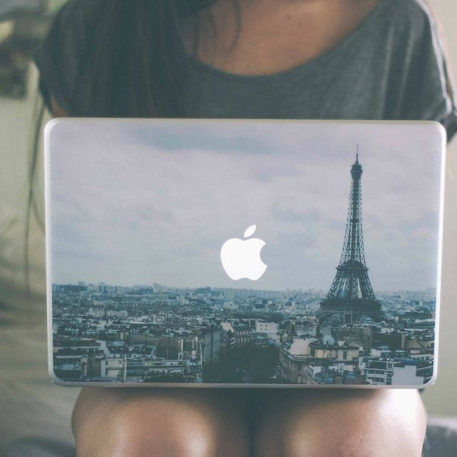 Paris MacBook Skin / The Apple logo now seems to be an evident object visible from the Paris skyline as you cover your Macbook with this Paris MacBook Skin. http://thegadgetflow.com/portfolio/paris-macbook-skin/ #applelaptops
