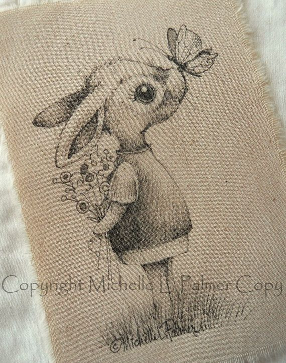 Original Pen Ink Fabric Illustration Quilt Label by Michelle Palmer Bunny Rabbit Butterfly kisses April 2014 ♥