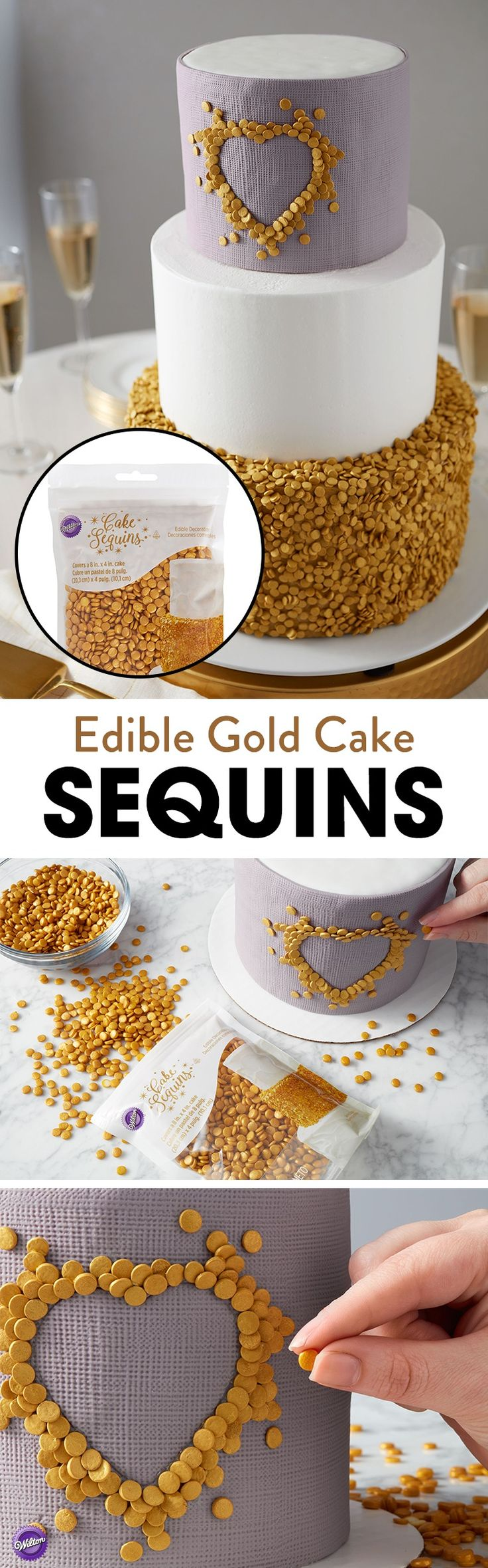 Your cake will be all that glitters with these edible gold cake sequins from Wilton. They provide a quick and easy way to add a bit of glam to cakes, cookies and cupcakes for weddings, showers, graduations or even New Year's Eve.