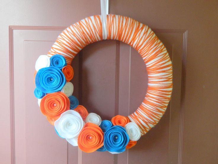 Gator colors :): Gators Wreath, Gator Wreath, Florida Gators, Wreath Yarn, Gators Yarn, Wrapped Wreath, Yarn Wreath