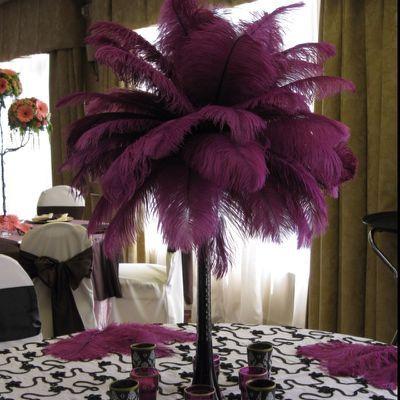 Ostrich feather centerpiece |