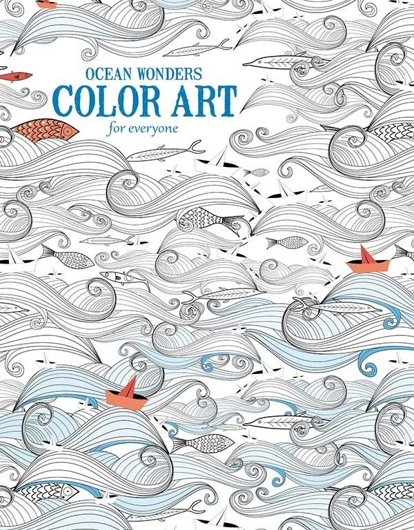 Ocean Wonders- COLOR ART for everyone -  6703 Ocean Wonders Color Art for Everyonethat features 24 design pages of intricate line drawings showcasing exotic fish, sharks, whales, dolphins, sea horses, starfish and other ocean creatures, seashells, ships, and sailboats. beneficial to all ages, Each 8.5 inch x 10.875 inch sheet of premium paper is printed on one side only and perforated for easy removal.