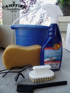 how to clean popup camper canvas