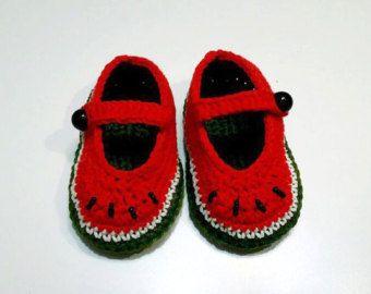 Sandía Roja zapatillas de bebé, bebé del ganchillo, zapatos de bebé sandía, bebé punto zapatos, regalos de bebé, ganchillo rojo zapatillas, sandía