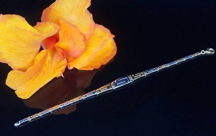 Meander greek key golden silver braceletgreek by ThetisTreasures