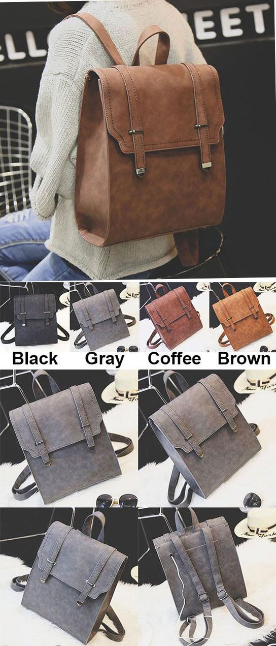 Retro Matte Square PU Metal Lock Match Large Scrub College Backpack for big sale! #large #metal #matte #square #retro #lock #fashion #backpack #Bag